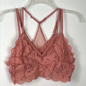 Aerie Floral & Star Pink  Lace Racerback Bralette